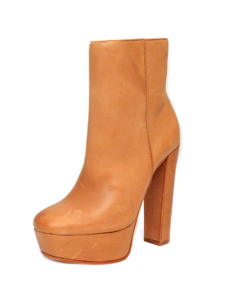 Schutz Disnna Desert Brown Leather Sky Platform Diva Ankle Bootie