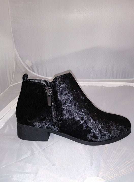 Bamboo Saber Black Velvet Block Stacked Heel Ankle Booties