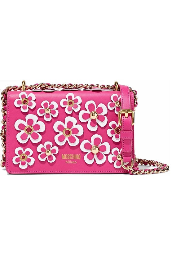 Moschino Flower Bag Clutch Pink Leather Bag 749580011244