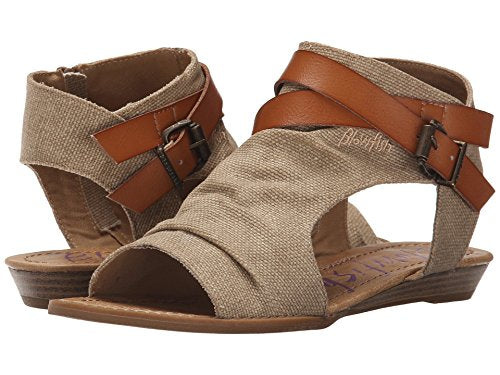 Blowfish Women's Balla Wedge Sandal Desert Sand Rancher/Canvas-Dyecut