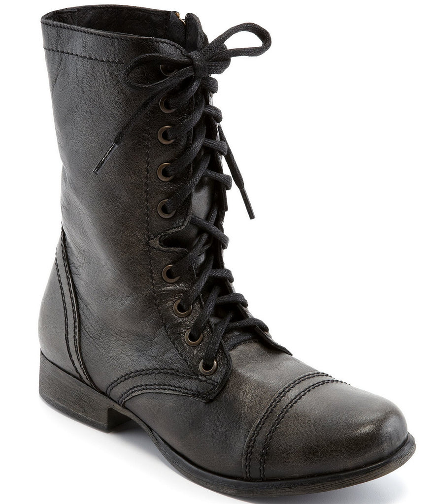 Steve Madden Troopa Lace-up Decor Combat Leather Boots BLACK LEATHER