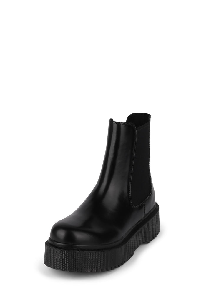 Jeffrey Campbell DESTRUCTS Platform Chelsea Boot Black Leather Moto Boots