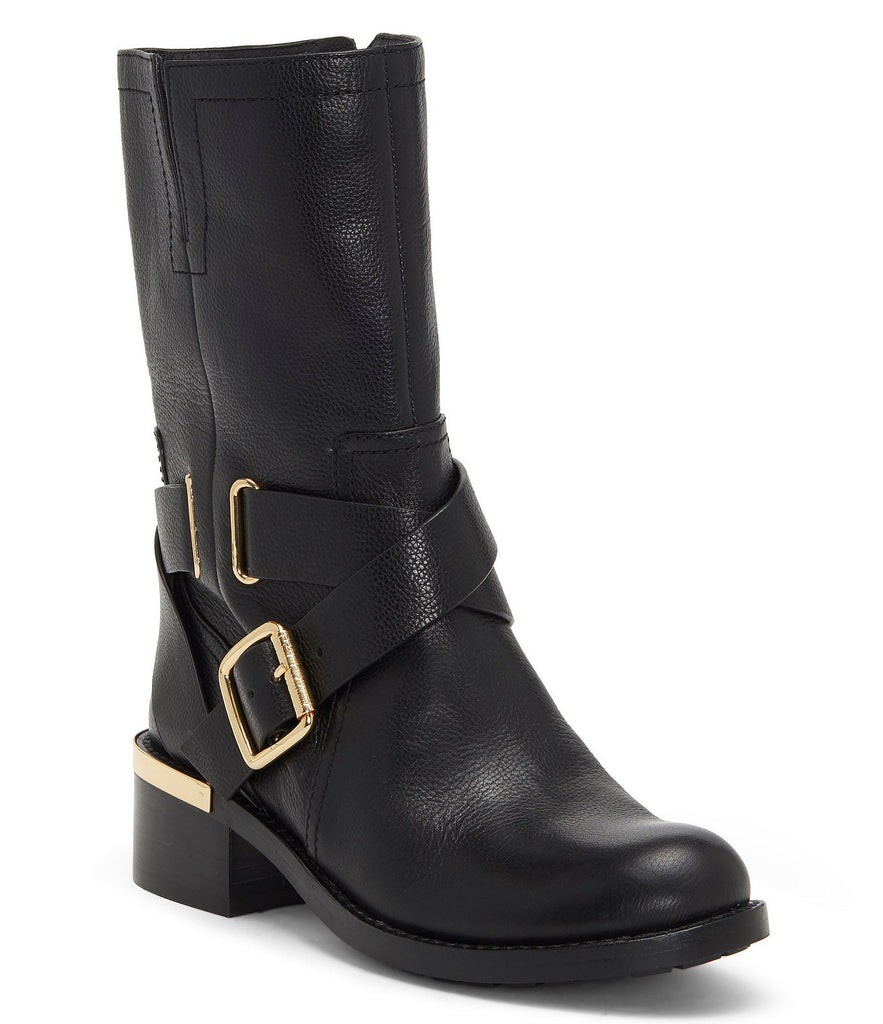 VINCE CAMUTO Wethima Black Leather Gold Metal Block Heel Moto Boots
