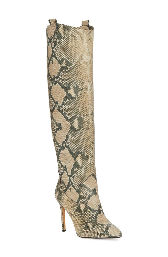 Vince Camuto Kervana Embossed Pull-on Pointed toe Knee High Leather Boot NATURAL