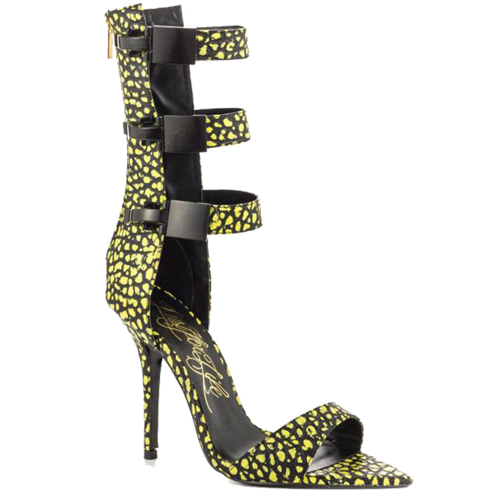 Lust For Life TRIBE SUPERLEMON YELLOW & BLACK SINGLE SOLE SEXY 3 BUCKLE SANDALS