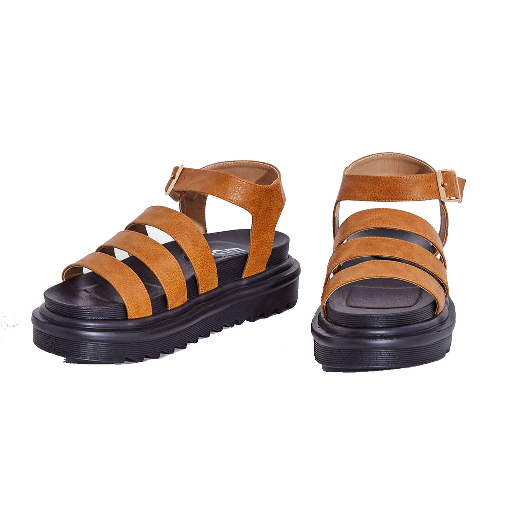 Lemonade Clueless Tan Strappy Ankle Buckle Cushioned Black Open Toe Platform Sandals