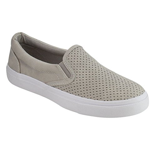 Soda Tracer Perforated Slip On Elastic Panel Fashion Sneaker Clay Grey Nubuck