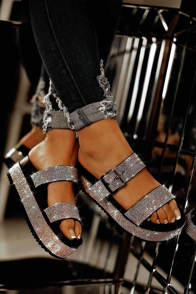 Cape Robbin Women PRAISE Platform Strappy Slip On  Rhinestone Sandals Black