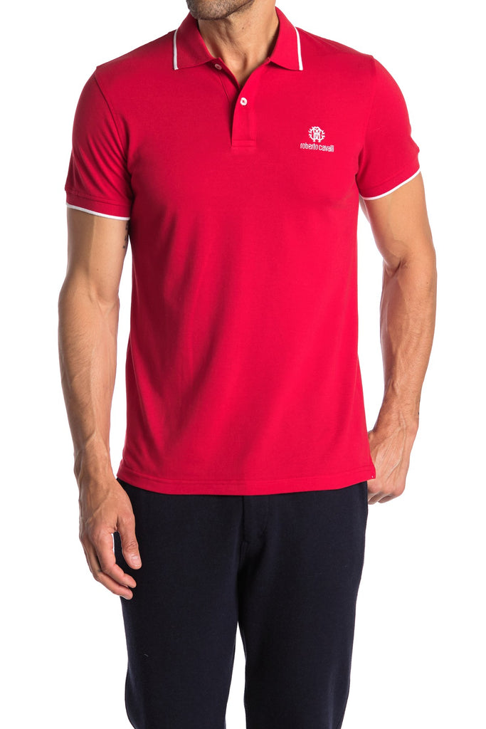 Roberto Cavalli Pipe Trim Short Sleeve Polo Shirt ROSSO FSR602KB00502000