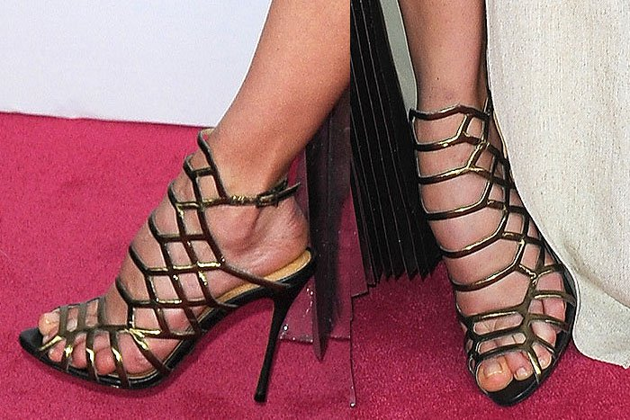 Schutz Bronze & Black Caged Sole Single Stiletto Heel Sandals