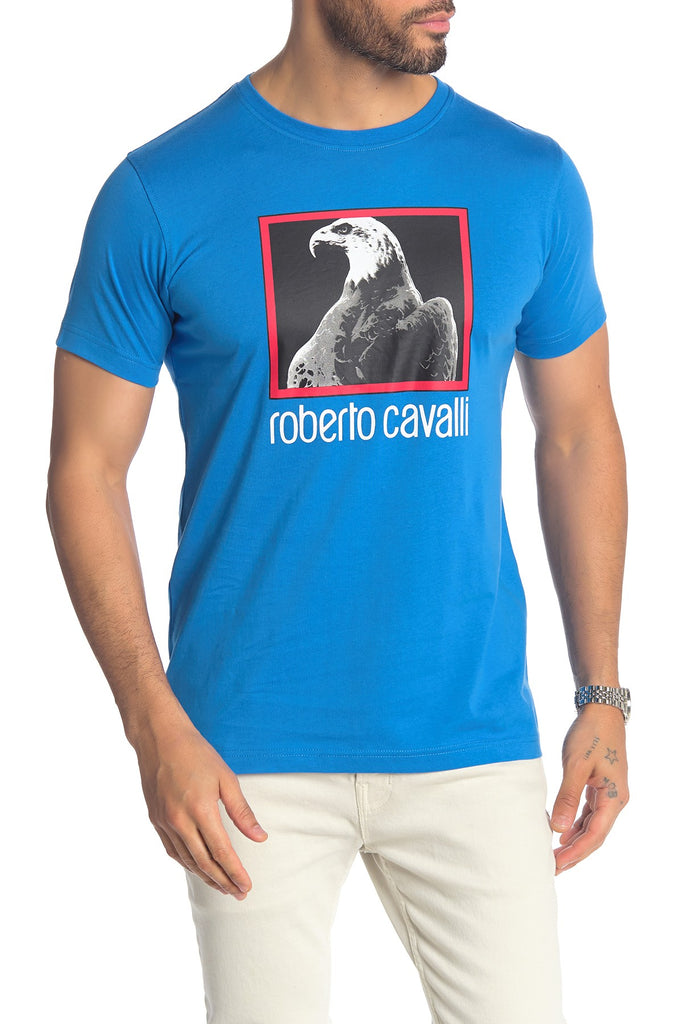 Roberto Cavalli Eagle Graphic Cotton Logo T-Shirt BLUE FST969A02703030
