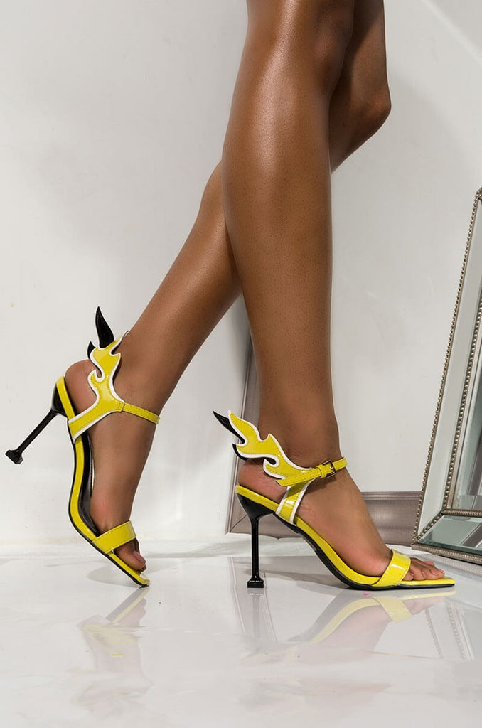 Cape Robbin Inferno Yellow Flame Accent Stiletto Heels Open Sandals Pumps