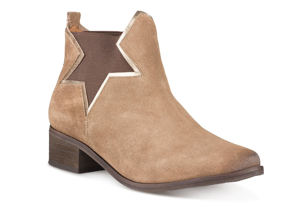 Klub Nico Women's ZELHA Boots-Taupe Suede Star Chelsea Ankle Bootie