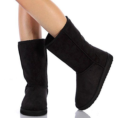 Soda Women's Soong Black Comfort Faux Suede Fur Mid- Calf Boot