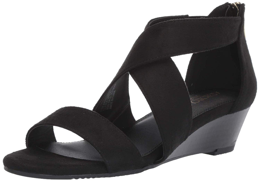 Aerosoles Apprentice Black Demi Wedge Wrap Ankle Zipper Back Sandal
