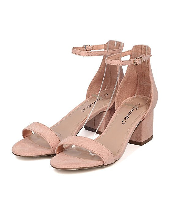 Breckelles aileen blush Nude Open Toe Black Heel Ankle Strap Sandals