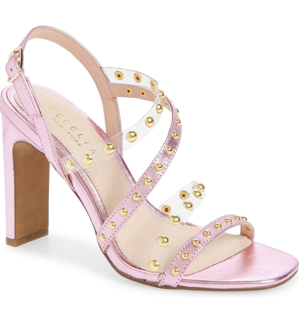 Cecelia New York Vanessa Studded Sandal Ice Pink Open Toe High Pump