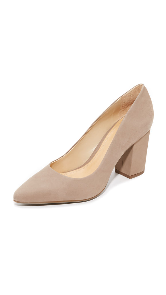 Schutz Moranita Pointed Toe Blocked Heel Slip On Goat Dress Pump