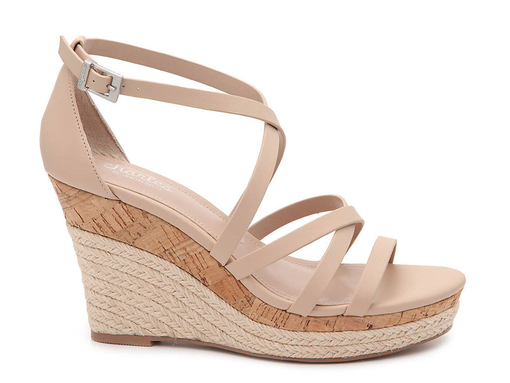 Charles David Womens LEAWOOD Wedge Sandal In NUDE Leather open Toe Platfrom