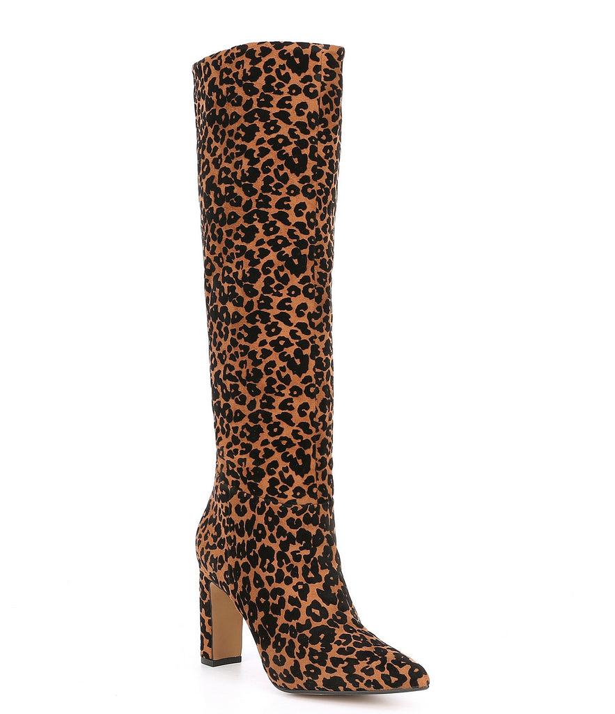 Steven by Steve Madden Joanis Leopard Knee High Dress Block Heel Pointed Boots