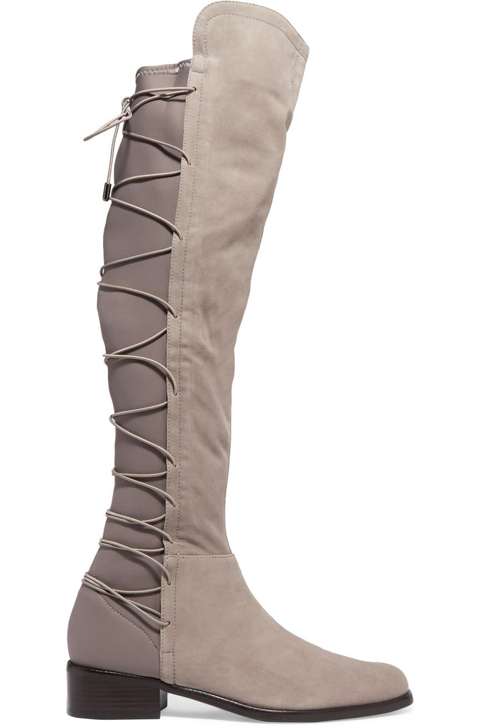 Schutz Talia Mouse Lace Up Neoprene Suede Knee Riding Boots