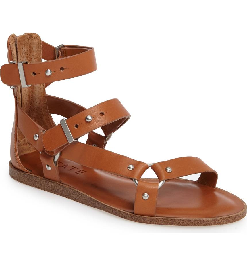 1.State Channdra Tan Leather Studded Strappy Flat Gladiator Buckle Sandals
