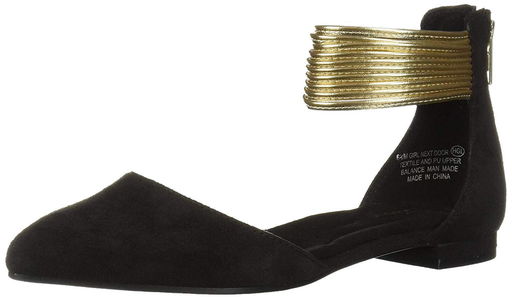 Aerosoles Soft Black Metallic Dipped Wrapped Ankle Straps Dressy Ballerina Flats