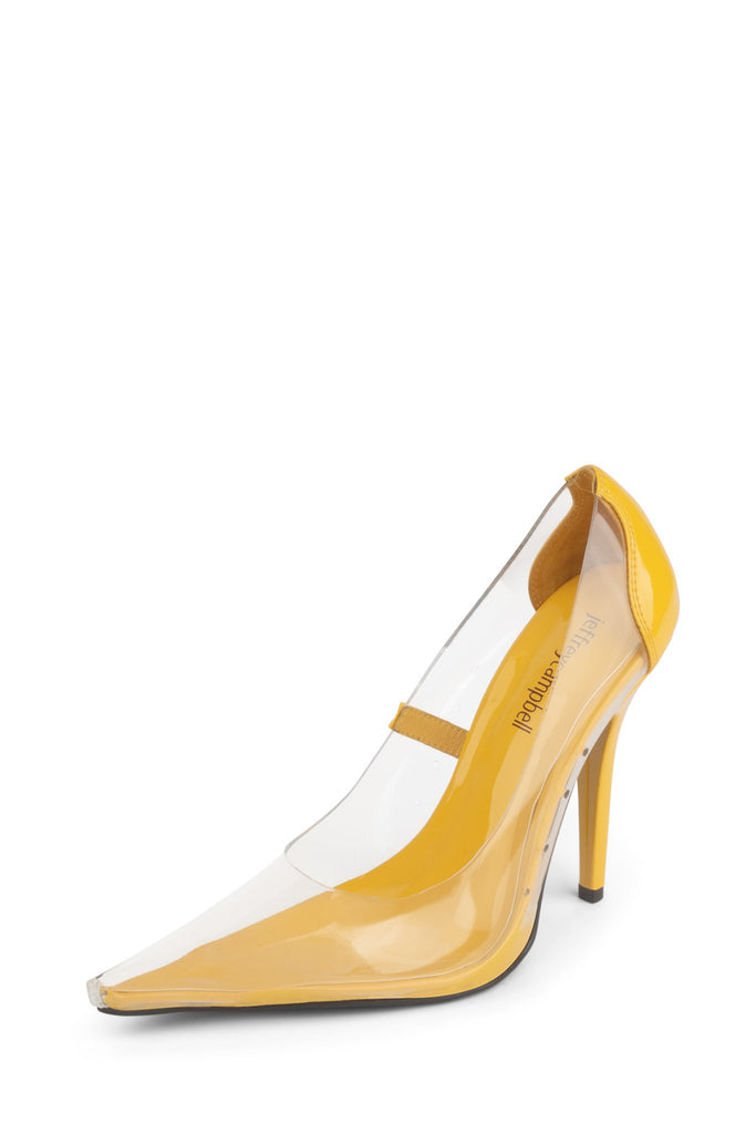 Jeffrey Campbell SNOW Clear Yellow Heels High Heel Stiletto Dress Pumps