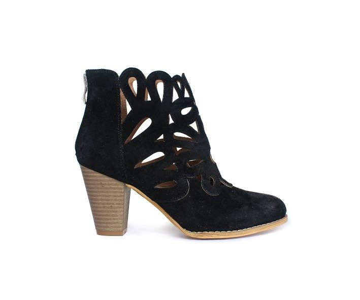 MIRACLE MILES URBAN RETRO BLACK SUEDE LASER CUTOUT ANKLE BOOTIE STACKED HEEL M-3