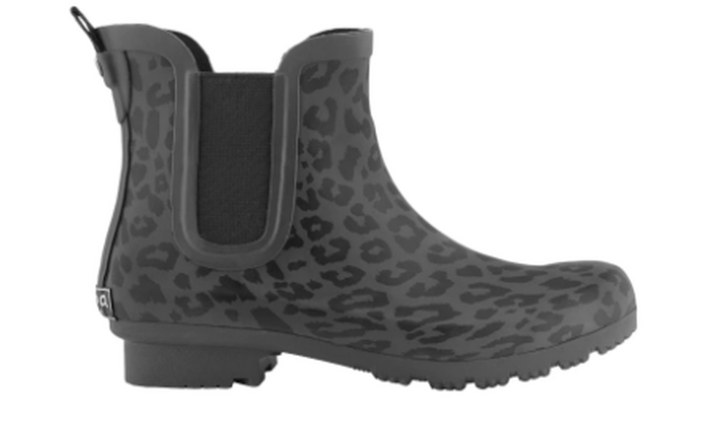 Roma Women's Chelsea High Ankle Vegan Rain Boots Waterproof,Matte Gray Leopard