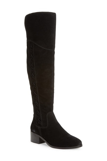 Vince Camuto KREESELL2 Wide Calf Pointed Toe Suede Knee High Boot BLACK