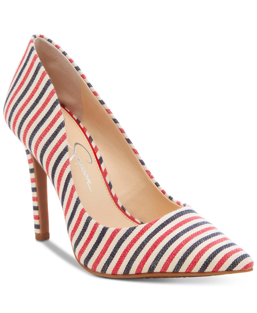 Jessica Simpson Red White Navy Blue Fabric Stripes Pointed Toe Classic Pumps