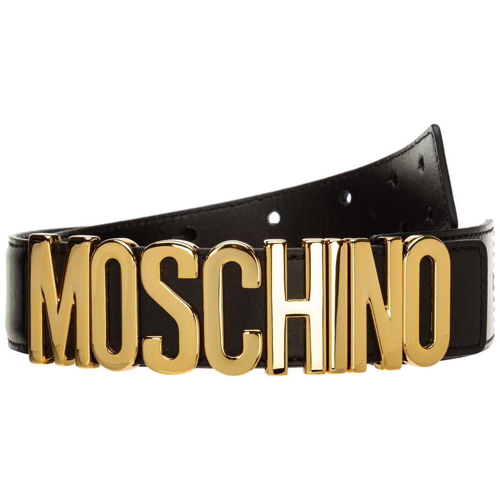 Moschino Unisex 100% Leather Gold Buckle LOGO Black Belt A800780010555