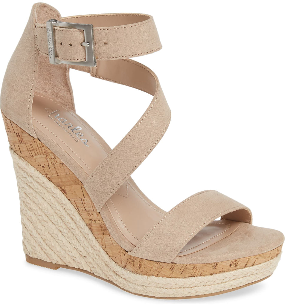 Charles David Women's Adrielle Nude Open-Toe Ankle-Tie Platform Wedge Sandal