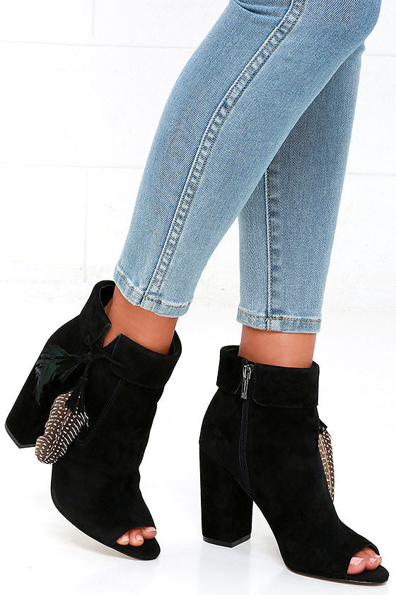 Jessica Simpson Kailey Black Suede Side Zipper Every Day Ankle Bootie