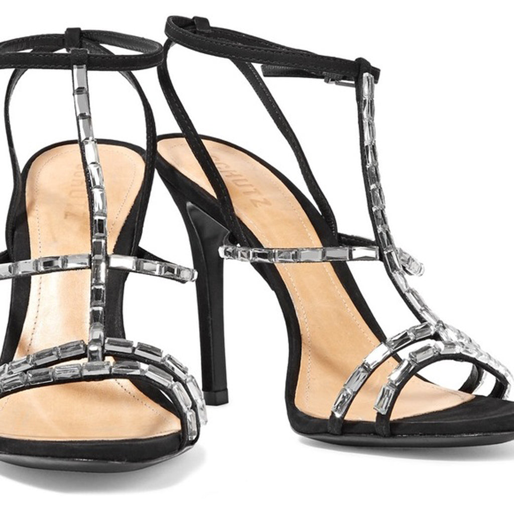 Schutz Strappy Black Nubuck Leather Embellished Stiletto Dress Sandals