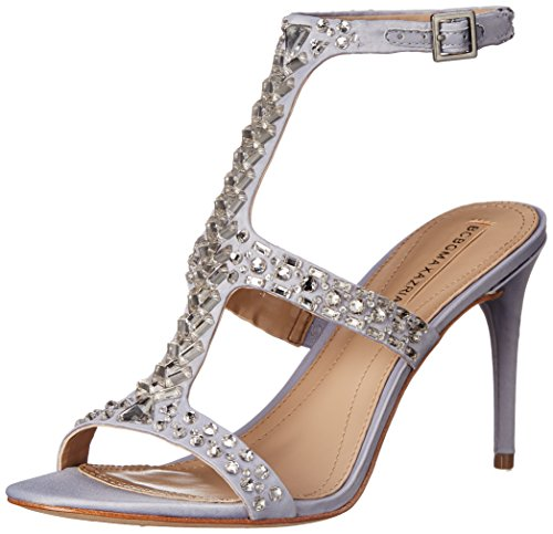 BCBG MAX AZRIA Ping T-Strap Rhinestone Dress Sandal Formal Pumps Silver Satin