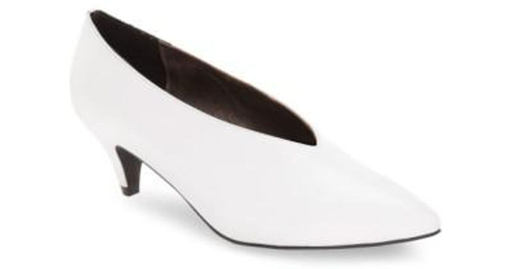 Jeffrey Campbell Carla Heel, White Leather Pointed Toe Dress Retro Pumps