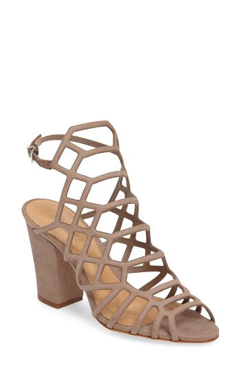 Schutz Nude Goat Taupe Wrapped Block Mid Heel Caged Open Toe Sandals