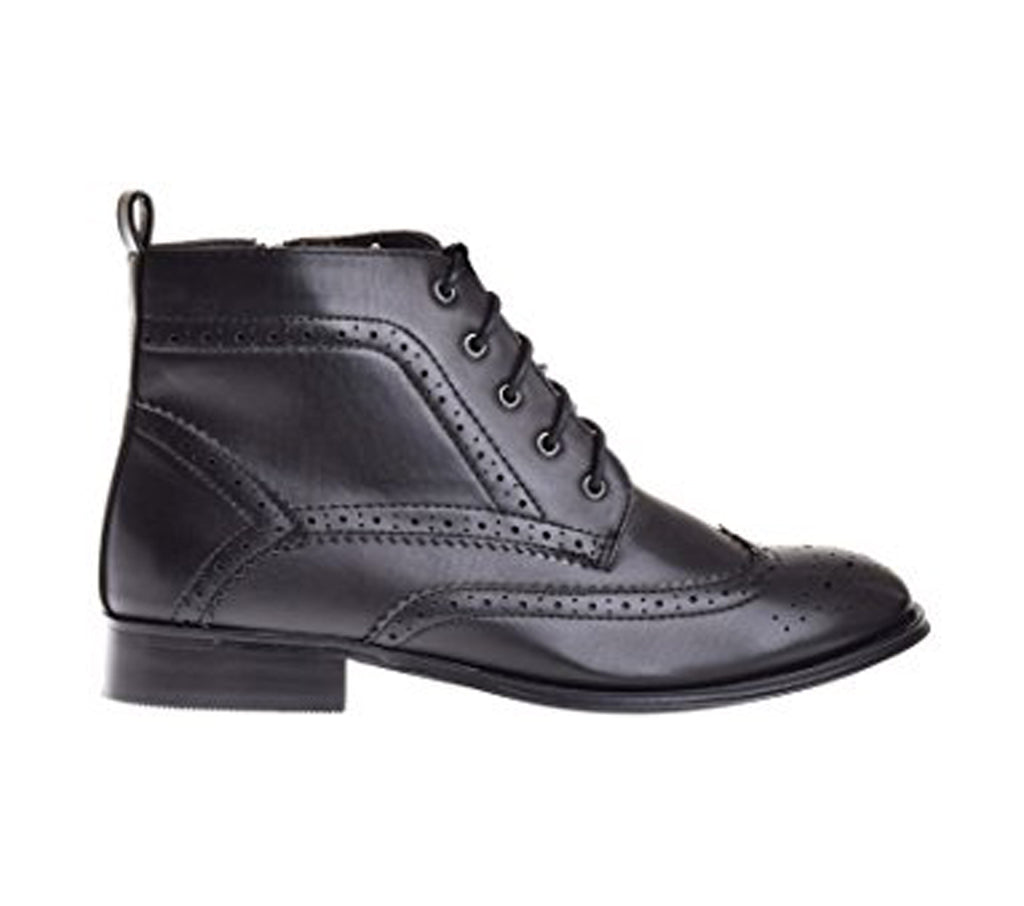 Wanted Shoes Wemen's Nonna Black Vegan Leather Wingtip Bootie