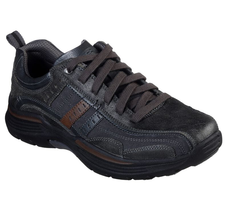 Skechers Men's EXPENDED-MANDEN Leather LACE UP Oxford CHARCOAL