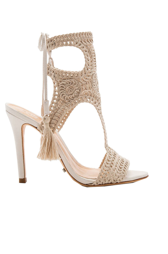 Schutz Veca CRU nude high heel single sole crow crochet tieup single sole sandal