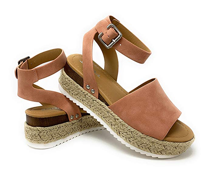 Soda Topic  Ro-Nude Casual Espadrilles Trim Flatform Studded Wedge