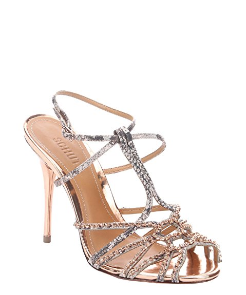 Schutz DICEIA GOLD LEATHER CAGED RHINHTONES SPARKLY EVENING DRESS SANDALS E41