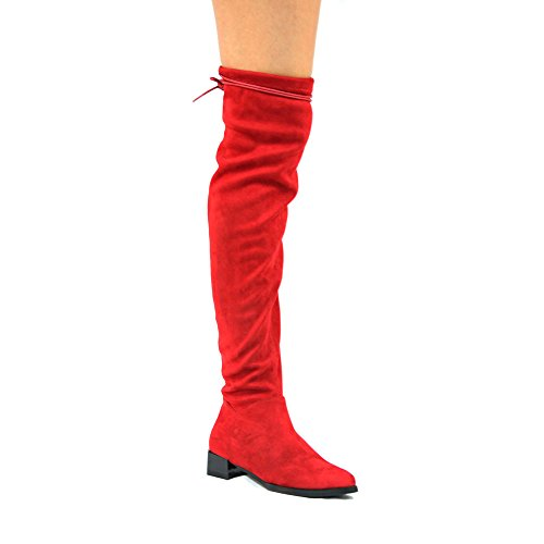 Cape Robbin Sasa-1 Over The Knee Flat Stretch Suede Slim Fitting Boots (6, Red)