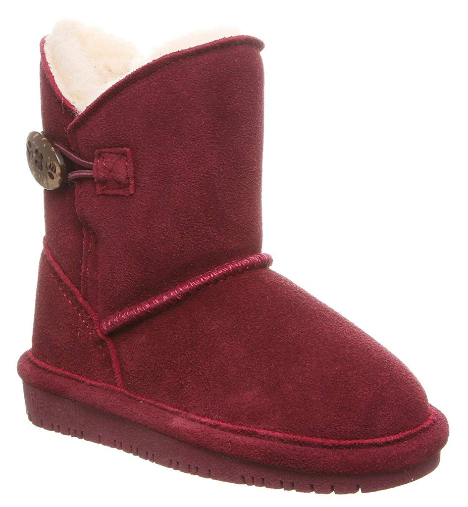 Bearpaw Casual Boots Girls Rosie Youth Wine Cow Suede Fur Lined Boots Bootie