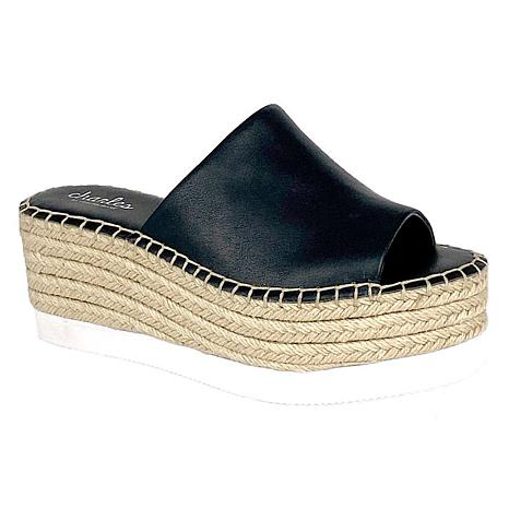 Charles by Charles David Women's Sporty Espadrille Wedges Black Platform Mule
