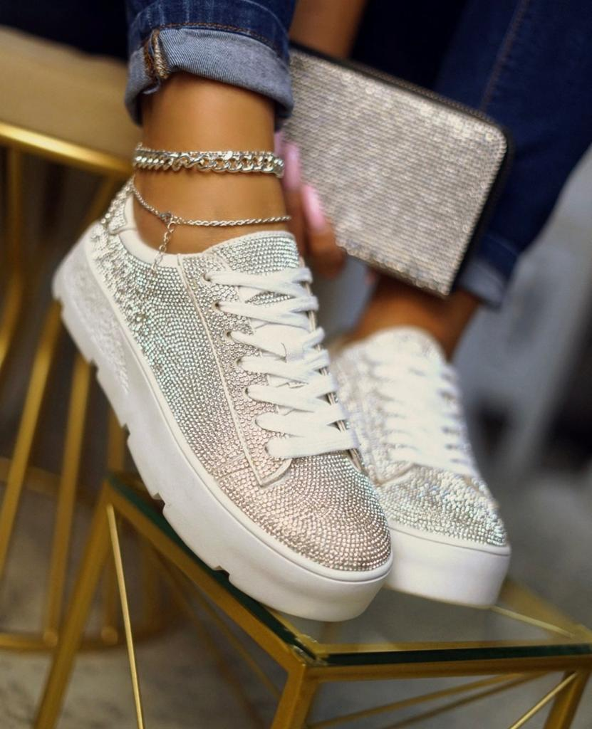 Cape Robbin Women Euro Lace Up Cushioned Rhinestone Platform Sneakers White