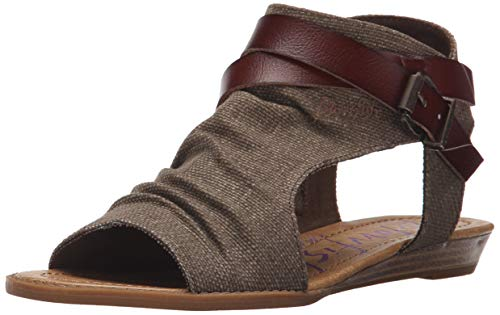Blowfish Women's Balla Wedge Sandal, Brown Rancher Canvas/Whiskey Dyecut,