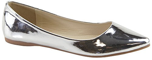 Bella Marie Angie Women's Classic Pointy Toe Ballet Flat Shoes (8.5, Silver-18luc)